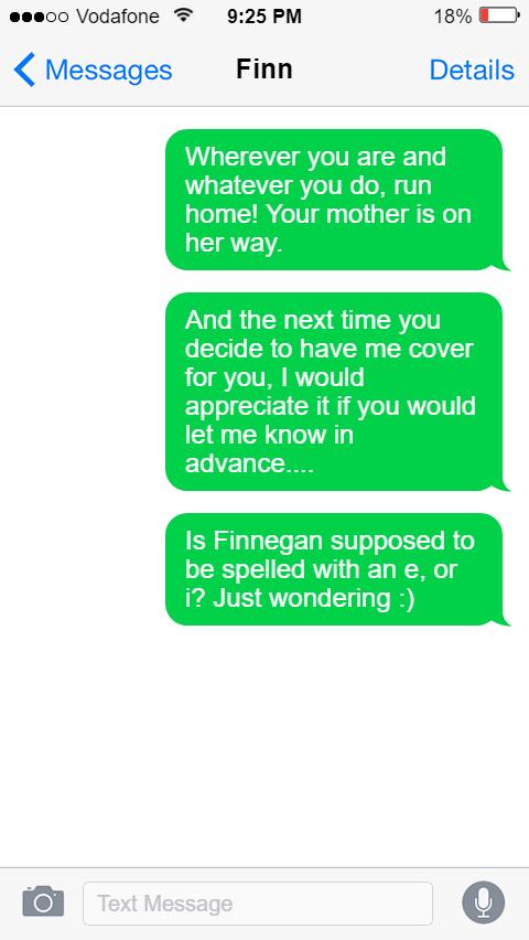 Finn text message